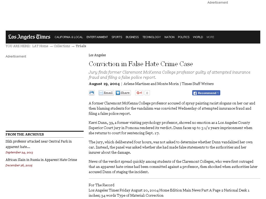 Professor at Clairemont McKenna college in California vandalized her
