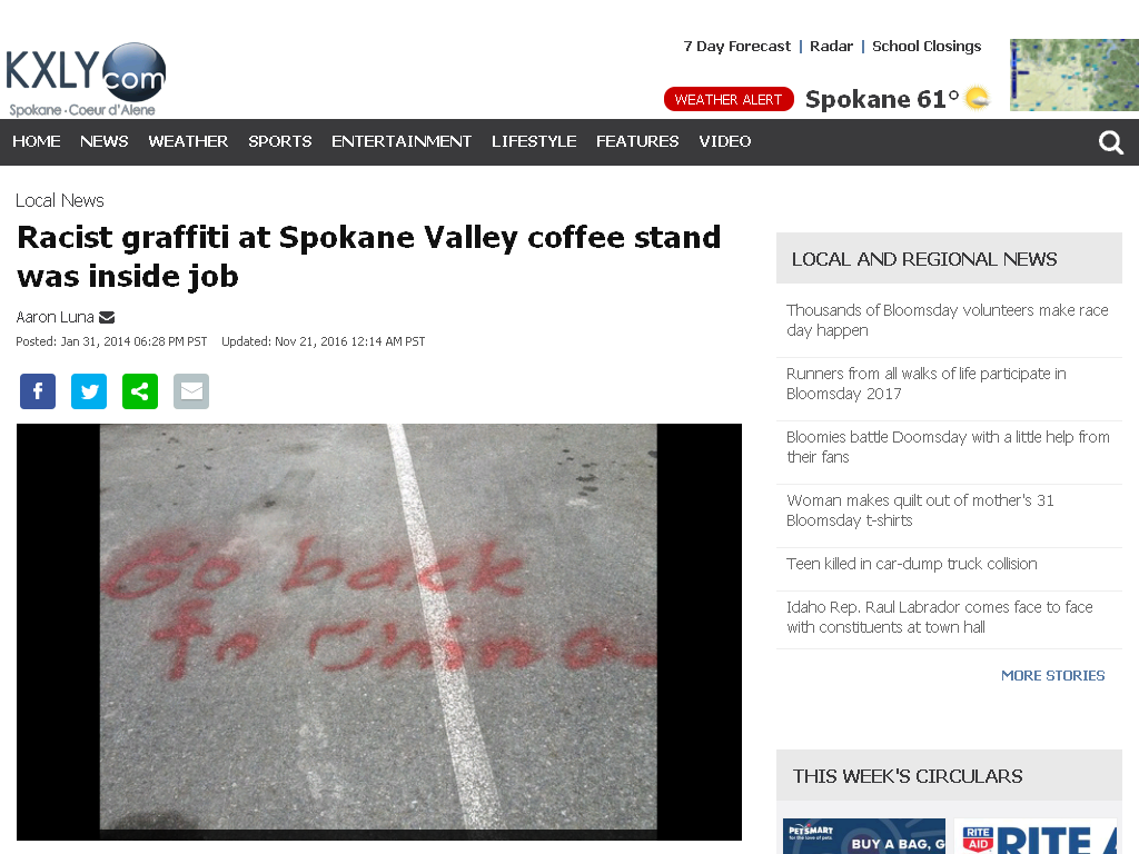 Chinese owner of a coffee stand in Spokane, Washington set
