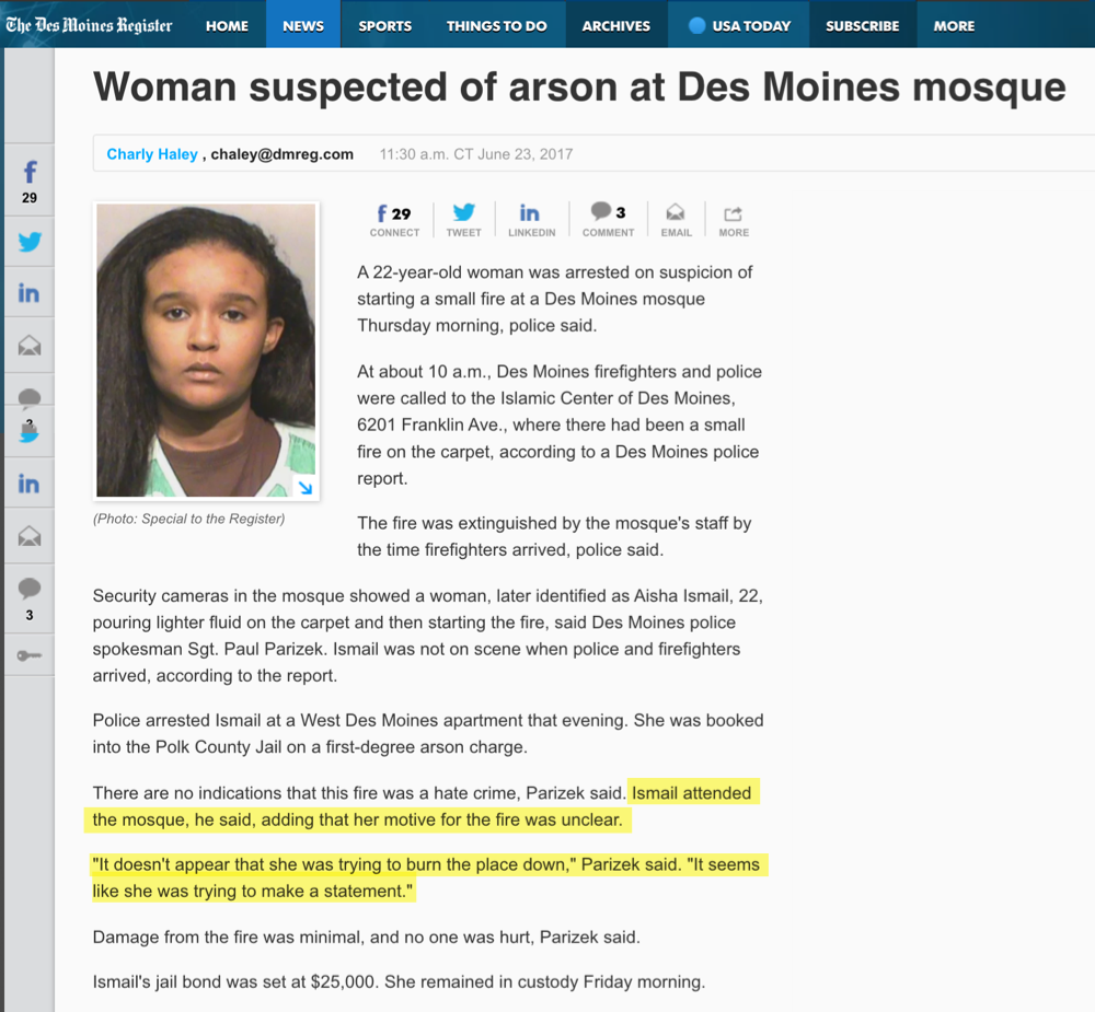 Muslim Woman Arrested for Lighting Her Own Mosque on Fire - Fake